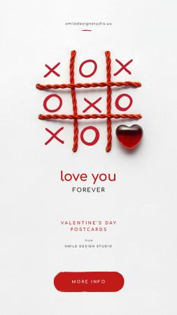 Valentine's Day Card with Tic-tac-toe game Instagram Story Design Template