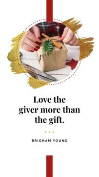 Woman with Christmas gift and Quote