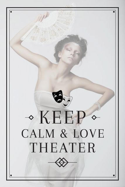 Theater Quote Woman Performing in White Tumblr Design Template