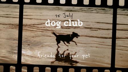 Plantilla de diseño de Happy Dog running on Beach FB event cover