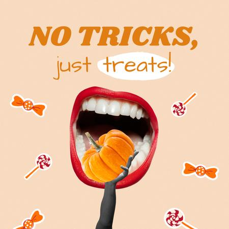 Halloween Mood with Funny Illustration of Pumpkin in Mouth Animated Post – шаблон для дизайна