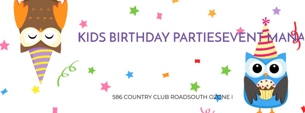 Birthday Party Management Studio Ad with Party Owls Facebook cover Šablona návrhu