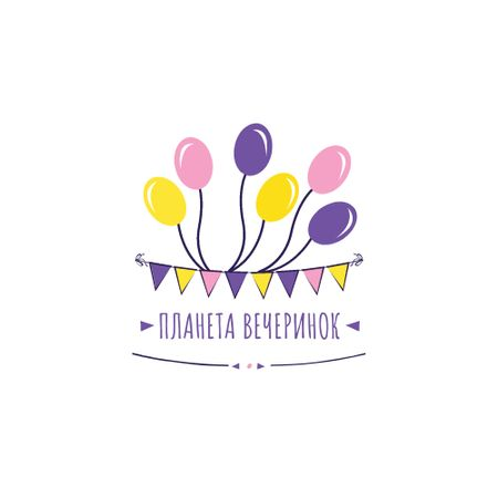 Party Organization Services with Colorful Balloons Logo – шаблон для дизайна