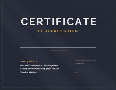 Modèle de visuel Business Courses completion Appreciation - Certificate