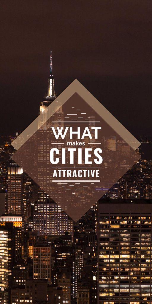 Template di design City Guide Night Skyscraper Lights Graphic