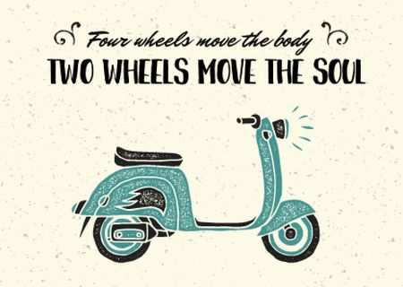 Two Wheels Quote with Vintage Scooter Postcard – шаблон для дизайну