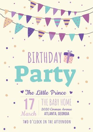 Birthday party Bright Invitation Poster – шаблон для дизайну