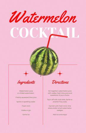 Watermelon Cocktail Cooking Steps Recipe Card – шаблон для дизайну