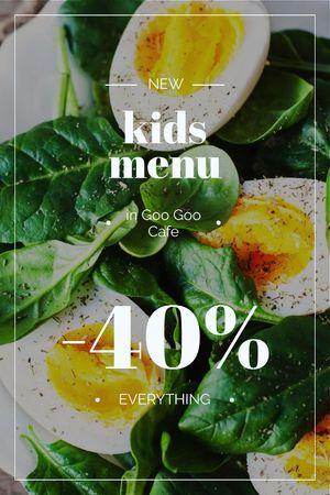 Szablon projektu Kids Menu Offer Boiled Eggs with Spinach Tumblr