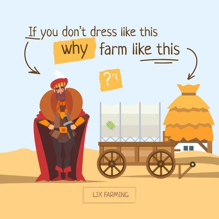 Funny Illustration of Knight on Farm Instagram Modelo de Design