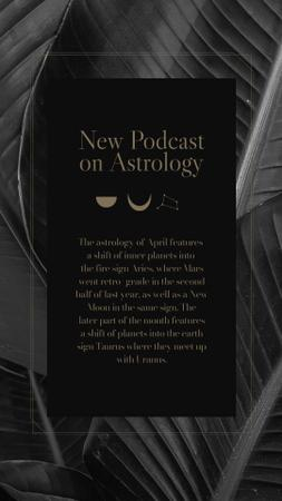 Modèle de visuel Astrology Podcast Announcement on dark leaves - Instagram Story