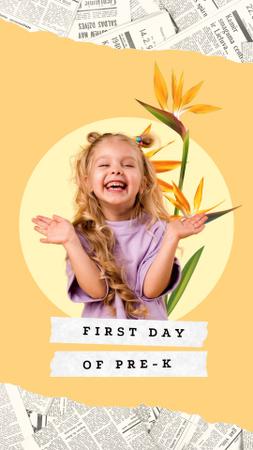 Cute Funny Little Girl with Flowers Illustration Instagram Story – шаблон для дизайну