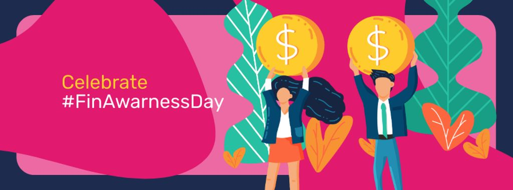 Finance Awareness Day with Businesspeople holding Coins Facebook coverデザインテンプレート