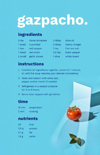 Delicious Gazpacho Cooking Steps Recipe Cardデザインテンプレート