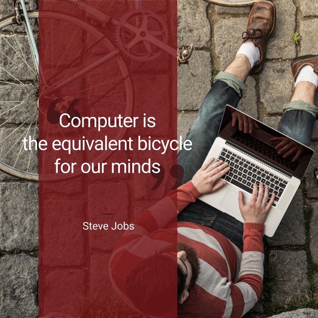 Motivational quote with Young Man using Laptop — Créer un visuel