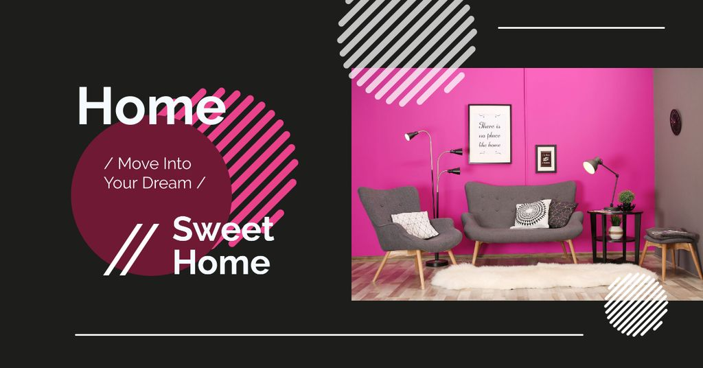 Cozy interior in pink colors Facebook AD – шаблон для дизайну