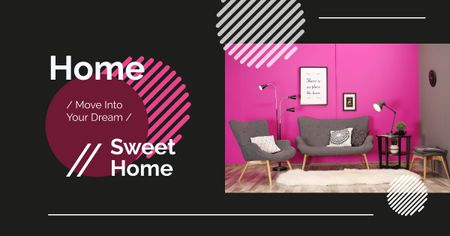 Template di design Cozy interior in pink colors Facebook AD