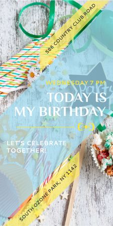 Birthday Party Invitation Bows and Ribbons Graphic – шаблон для дизайну