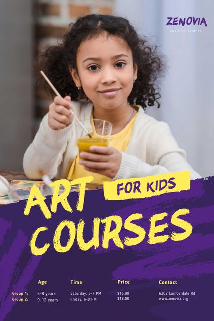 Szablon projektu Painting Courses with Girl Holding Brush Tumblr