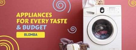 Appliances Offer with Washing Machine Facebook cover – шаблон для дизайну