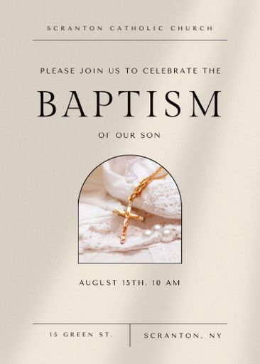 Baptism Ceremony Announcement With Christian Cross