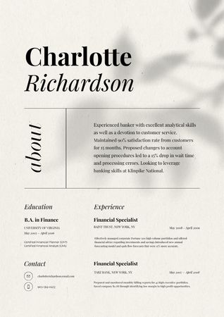Template di design Financial Specialist skills and experience Resume