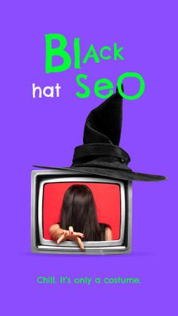 Funny Joke with Scary Woman in TV Instagram Story – шаблон для дизайна