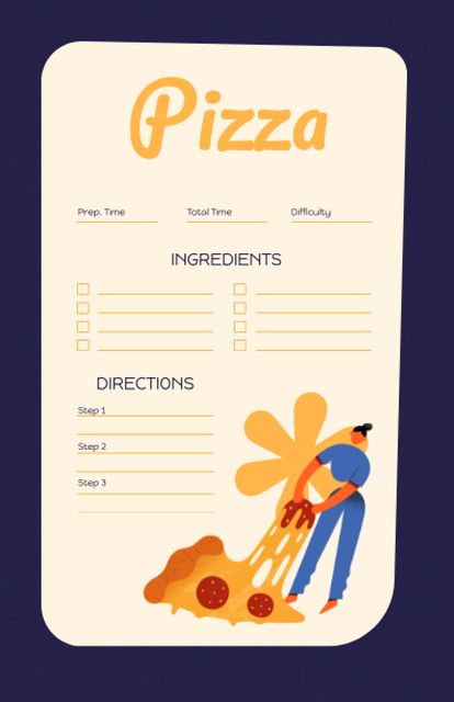 Funny Illustration of Big Pizza Piece Recipe Card – шаблон для дизайна