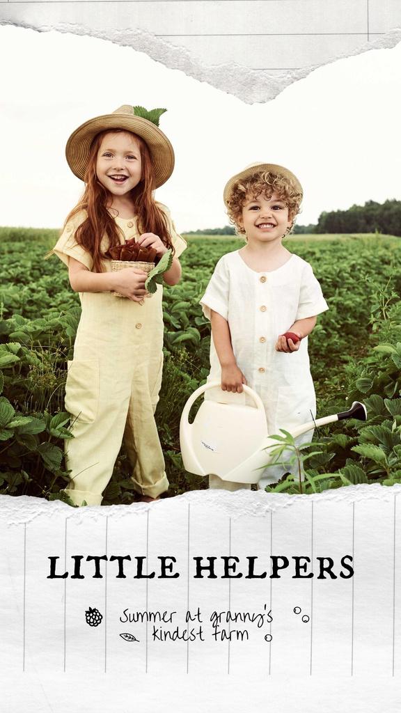 Cute Little Children Harvest Instagram Story Modelo de Design