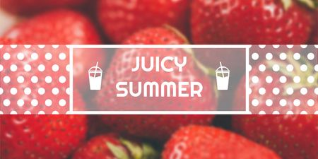 Summer Offer with Red Ripe Strawberries Twitter Design Template