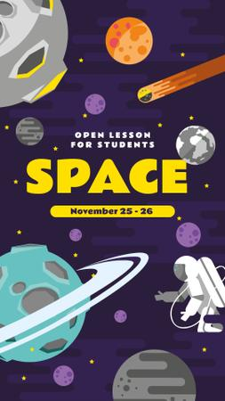 Designvorlage Space Lesson Announcement with Astronaut among Planets für Instagram Story