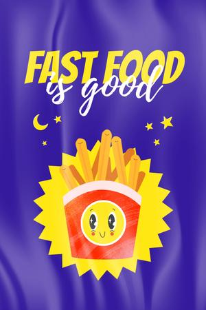 Phrase about Fast Food with Cute French Fries Pinterest Modelo de Design
