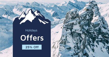 Modèle de visuel Winter Tour Snowy Mountains View - Facebook AD