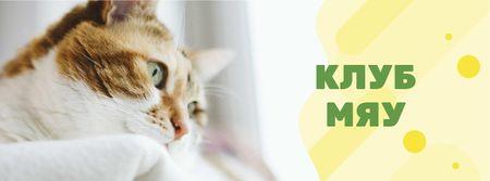 Adorable Cat by window Facebook cover – шаблон для дизайна
