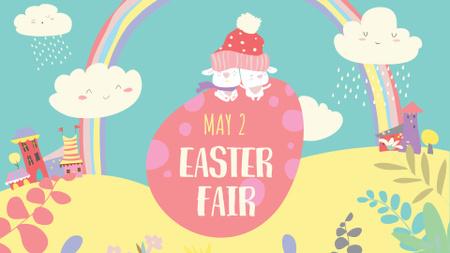 Easter Fair Announcement with Bright Illustration FB event cover Modelo de Design