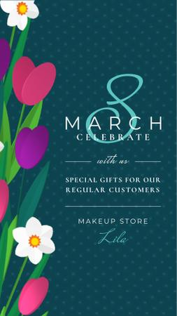 8 March Greeting Tulips and Narcissus Border Instagram Video Story Design Template