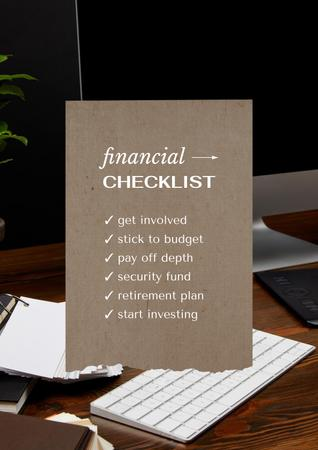 Ontwerpsjabloon van Poster van Financial Checklist on working table