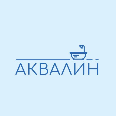 Bathtub with Shower Icon in Blue Logo – шаблон для дизайна
