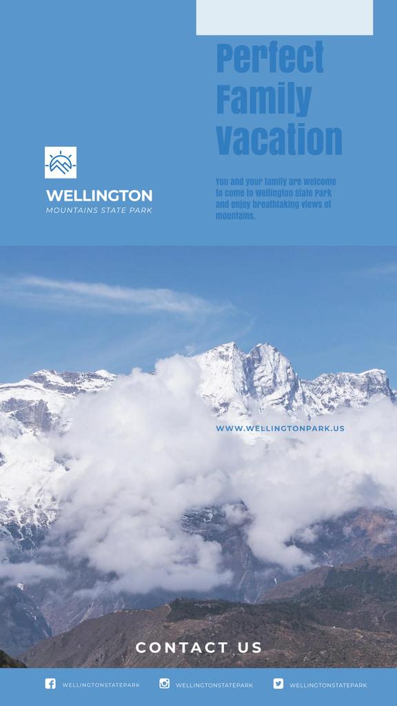 Mountains Tour Ad Scenic Peaks Landscape — Modelo de projeto
