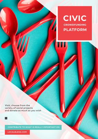 Crowdfunding Platform with Red Plastic Tableware Poster – шаблон для дизайна