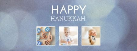 Modèle de visuel Happy Hanukkah Holiday Greeting - Facebook cover