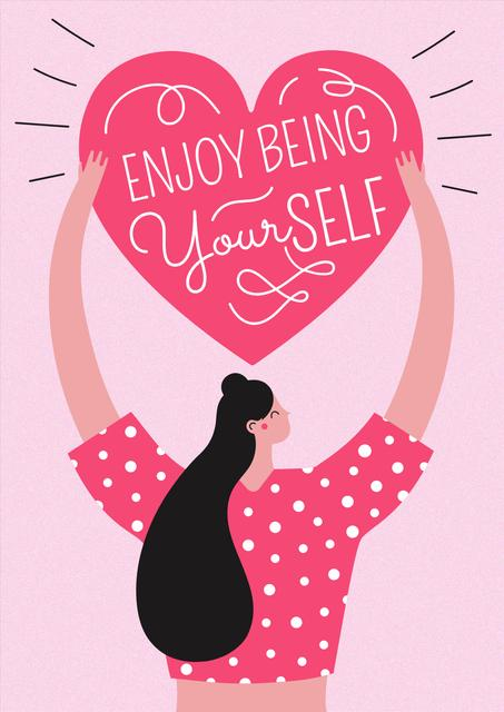 Plantilla de diseño de Girl Power Inspiration with Woman holding Heart Poster