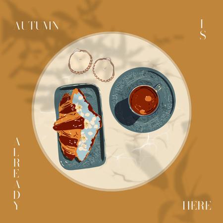 Platilla de diseño Autumn Inspiration with Coffee and Croissant Instagram