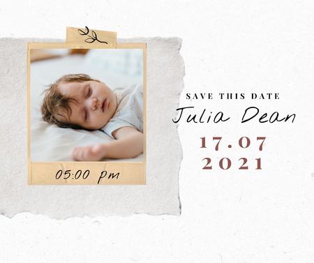 Modèle de visuel Birthday Announcement with Cute Sleeping little Baby - Facebook