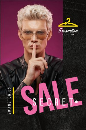 Plantilla de diseño de Fashion sale ad with Young Man Tumblr
