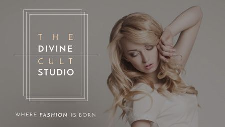 Szablon projektu Fashion Studio Ad Blonde Woman in Casual Clothes Title