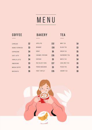 Cafe promotion with dreamy Girl Menu – шаблон для дизайну