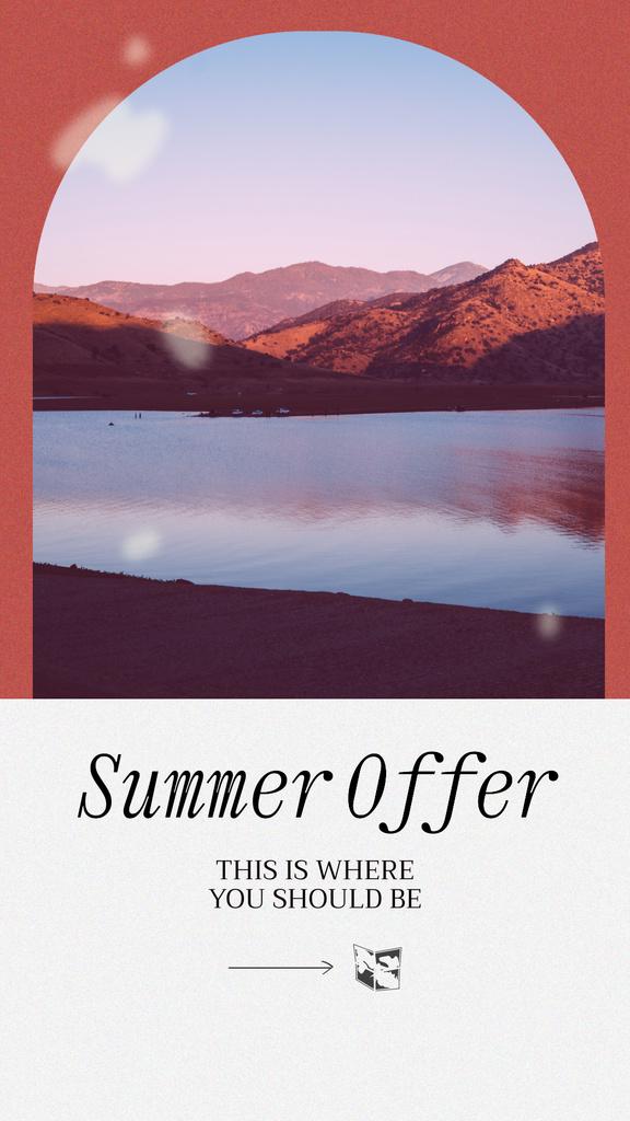 Summer Travel Offer with Mountain Lake Instagram Story Modelo de Design