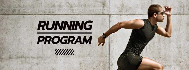 Running Program Ad with Sportsman Facebook cover Modelo de Design