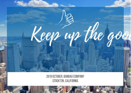 Business Quote on City Background Postcard Modelo de Design